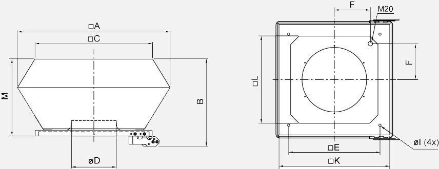 Вентилятор DVEX 315D4 400V Габариты
