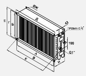 Воздухонагреватель водяной для прямоугольных каналов  WWN 100-50/3 габариты