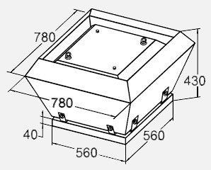 Вентилятор  KW 56/35-4E крышный габариты