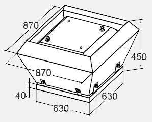 Вентилятор KW 63/45-4D крышный габариты