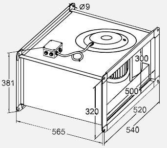 Габариты вентилятора WRW 50-30/25-4D