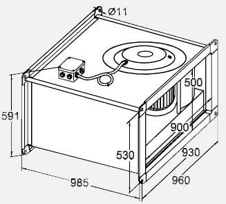 Габариты вентилятора WRW 90-50/45-6D