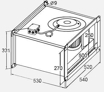 Габариты вентилятора WRW 50-25/22-4D