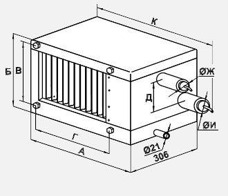Фреоновый испаритель для прямоугольных каналов FLO 70-40 габариты